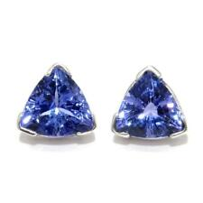 1.05 TCW Trillion Genuine Tanzanites Stud Earrings In Solid 14k White Gold