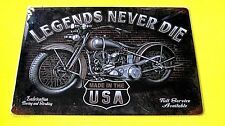 Garage Wall Decor Poster Plaque Metal tin Motorcycle SIGN (LEGENDS NEVER DIE)