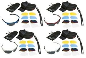 CHEX Ace Cycling Sunglasses Sports Glasses 5 Interchangeable Plastic Lenses