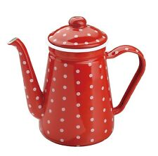 Enamel Tea/Coffee Pot Red color Dotted with white 1.2 LT