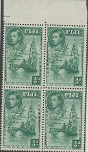 Stamps 1938 Fiji 1/2d green KGV1 SG249 top block 4 retouch king forehead etc