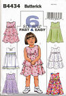 BUTTERICK SEWING PATTERN 4434 GIRLS SZ 4-6 DRESSES W/ FLARED OR GATHERED SKIRTS