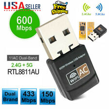 US Dual Band 600Mbps 2.4G / 5G Hz Wireless Lan Card USB PC WiFi Adapter 802.11AC