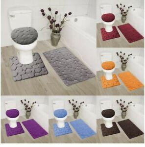 3pc set bath mat rugs lid cover memory foam cushion rock toilet cover contourug