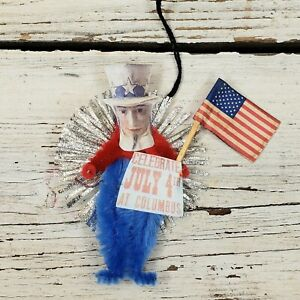 One of a Kind Vintage Style PATRIOTIC UNCLE SAM Chenille Ornament