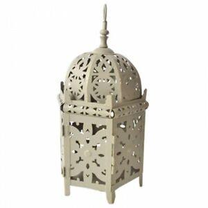 Lanterna Marocchina esagonale in metallo grigio con Intagli 0IZQ