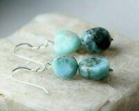 "Larimar Blue Natural Free form Gemstone Earrings .925 Sterling Silver 1 1/2"""