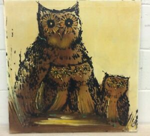 MID CENTURY OWLS PAINTING SIGNED MICHELLE OIL ON CANVAS