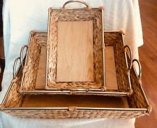 "Uma Wicker Metal & Wood Basket Set Of 3 17"",19"",21""H 41183"