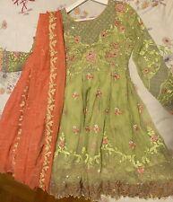 INDIAN / Pakistani FABRIC DRESS Party WEAR SALWAR KAMEEZ Size S 3 Pieces