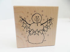 """Snowman Rubber Stamp Rubber Mounted on Wood Vintage 1996 Santa Rosa E-1809 2""""x2"""""""