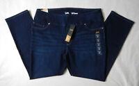 NEW Lee Pull On Straight Slimming Womens Infinity Blue Denim Jeans 18 Short