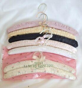 Set of 8 Vintage Padded Colored Satin Boudoir Hangers