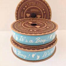 It's a boy! Blue & white cotton ribbon 5m Spool Baby footprints Craft Gift Wrap