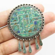 Mexico 925 Sterling Silver Natural Multicolor Gemstone Large Pendant Pin Brooch