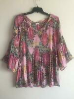 SPENSE NEW Floral Paisley Smocked Chiffon Bell Sleeve Boho Plus Size Top 2X 3X