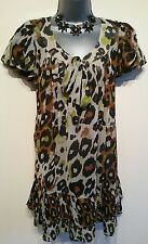 Size 10 Top NEXT Sheer Leopard Print Brown Green Black Long Length Women's