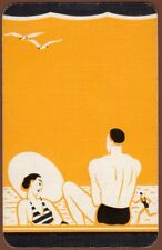 Playing Cards 1 Swap Card - Old Vintage Art Deco SEASIDE BEACH COUPLE Lady + Man