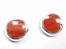 Red Agate Circles 925 Sterling Silver Stud Earrings Round