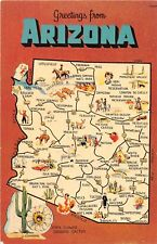 State map postcard Greetings from Arizona chrome large letter AZ