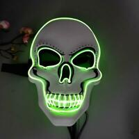Halloween Scary Mask Cosplay LED Costume Party Prop EL Wire Glowing Horror Mask