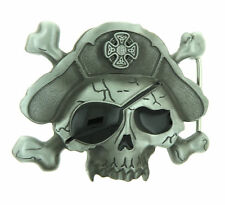 Skull Bones Pirate Eye Patch Metal Belt Buckle