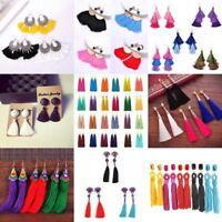 Vintage Hook Drop Dangle Earrings Fashion Women Bohemian Fringe Boho Long Tassel