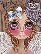 Owl Angel Art Print SIGNED dated by artist Jaz Higgins Vintage Nursery Boho Girl