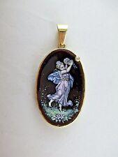 Pendant Lladro Angel Vintage Cameo Antique Diamond 14K Gold Painted Carnelian