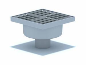 Bodenablauf Edelstahl Durchgang DN50 150x150 Abgang Senkrecht Duschablauf