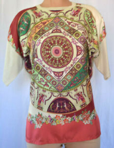 ETRO Silk Floral/Paisley Print Round Neck Back Knit Short Sleeves Size 44