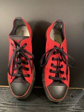 Converse All Star Low Top Sneakers Red Black Lace Up Canvas Shoes Men SZ 6