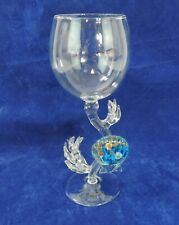Clear Wine Glass with Blue Sea Shell Handle Stem & Sea Weed