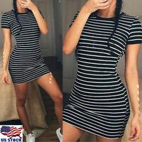 Women Short Sleeve Striped Party Crew Neck Bodycon Summer Beach T-shirt Dress jt