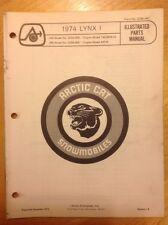 Arctic Cat Snowmobile Parts Book Manual 1974 Lynx 1 292 295