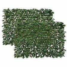 Artificial Leaf Faux Ivy Expandable/Stretchable Privacy Fence 2PC Dark Green