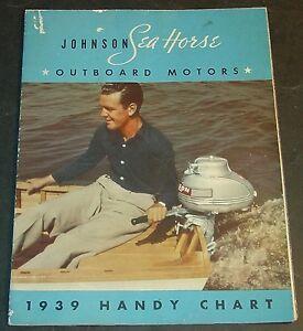 VINTAGE 1939 JOHNSON SEA HORSE OUTBOARD MOTOR SALES BROCHURE POSTER SIZE  (990)