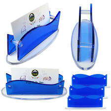6 x New CLEAR Blue Acrylic Plastic Desktop Business Card Holder Display USA