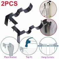 1 Pair Metal Double Curtain Rod Bracket Pole Holder Kwik Hang Set No Drill -UK