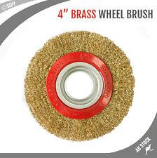 """4"""" Wheel Brush Brass Wire Steel Fine Crimped Bench Grinder Polishing Accessories"""