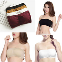 Soft Women Strapless Padded Bra Seamless Bandeau Tube Top Removable Pads Crop