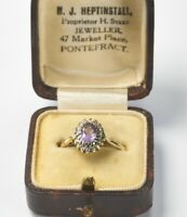 Vintage 9ct Yellow Gold Amethyst & Diamond Cluster Ring UK M 1/2 - N
