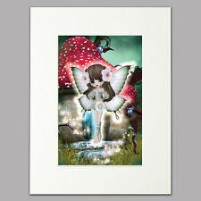 """Little Woodland Fairy Print girls & women adorable Mounted Wall Art A4 12"""" x 16"""""""