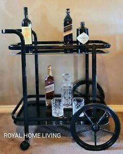DRINKS TROLLEY BAR CART BLACK TEMPERED GLASS SHELVES WINE WHISKEY STORAGE