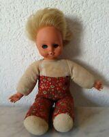 alte Puppe Mädchenpuppe Gummigesicht Schlafaugen blonde Haare old girldoll