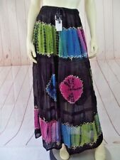Ma Guggi Skirt One Size Black Rayon Tie Dye Lace Tiered Sheer Overlay Lined New