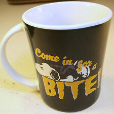 "Peanuts Snoopy Mug Cup Halloween Gibson 15oz  Porcelain ""Come In For A Bite"""