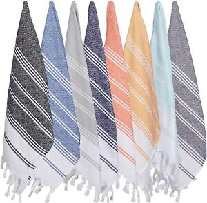 8 X Turkish Cotton Hand Face Guest Travel Gym Yoga Towel Wash Dish Tea Cloth Set