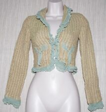 True Meaning Green Brown Multi-color Ruffled Cotton Rayon Cropped Jacket Blazer