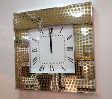 Moderne Paillettes Dorées Pois Verre Réfléchissant Carré Horloge Murale 50cm